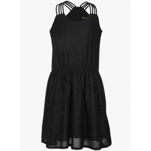 Gini & Jony Black Cotton Regular Fit Dress