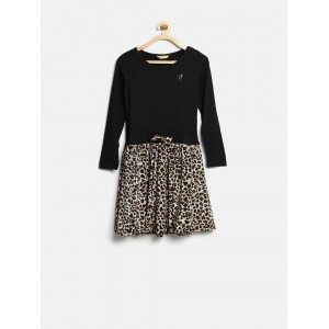 Gini & Jony Girls Black & Brown Printed Fit & Flare Dress