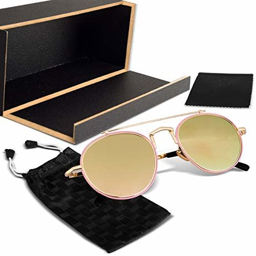 Elegante Metal Nose Double Bridge Retro & Luxurious Oval Gold Mirrored Sunglasses for Women