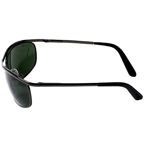 AISLIN Non-Breakable Oval Mens Sunglasses - (AS-8012DH-2-GUN,G-15,Green Lens)