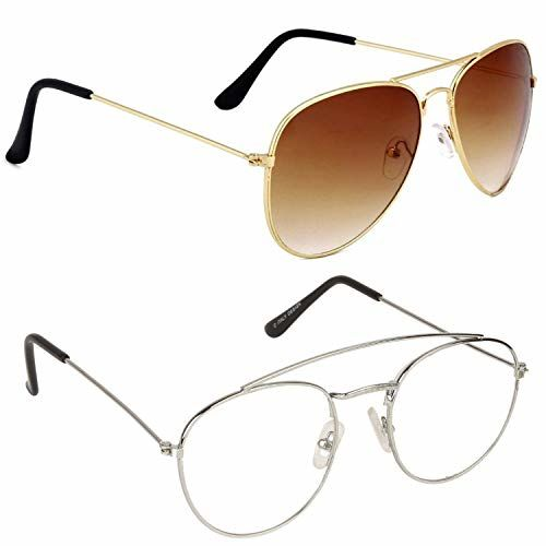 Voosoto Aviator and Oval Shape Men's and Women's Sunglasses Combo (Brown, Clear) - Pack of 2