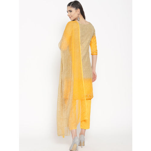 Saree mall Beige & Yellow Printed Unstitched Dress Material with Dupatta