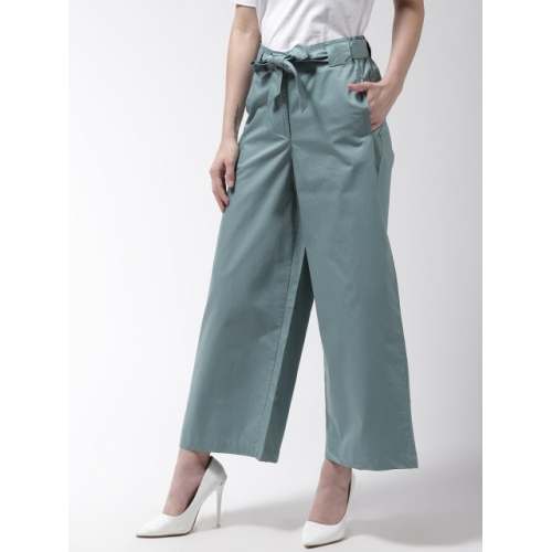 Marks & Spencer Women Green Solid Regular Parallel Trousers