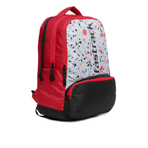 Fastrack Men Red & Grey Colourblocked Backpack