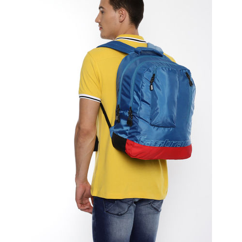 Fastrack Men Blue & Red Brand Logo Backpack