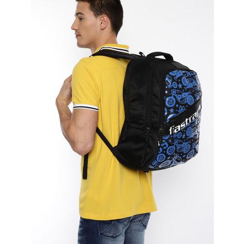 Fastrack Men Black & Blue Graphic Backpack