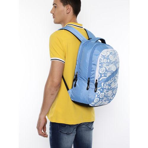 Fastrack Men Blue & White Graphic Backpack
