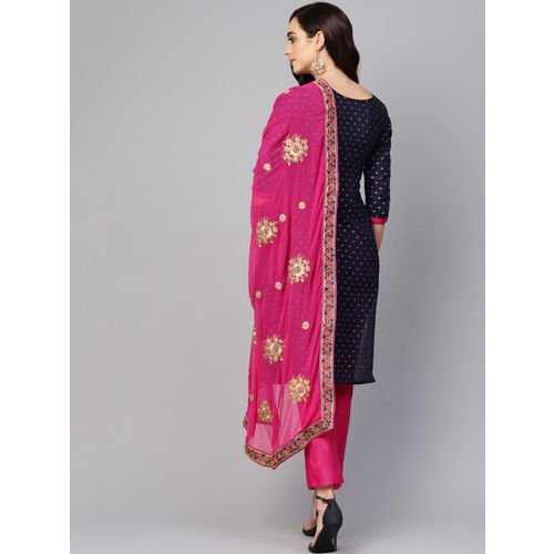 Ishin Navy Blue & Pink Woven Design Unstitched Dress Material