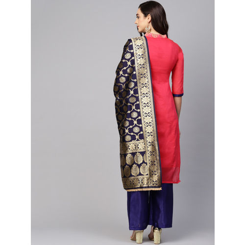 Ishin Coral Red & Navy Blue Woven Design Unstitched Dress Material