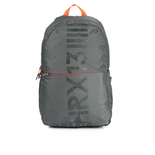 HRX by Hrithik Roshan Unisex Grey Brand Logo Backpack