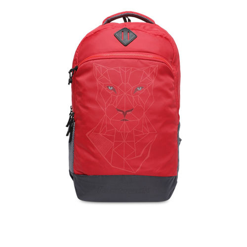 Fastrack Men Red & Grey Graphic Backpack