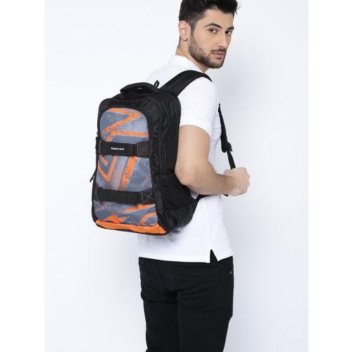 Fastrack Men Black & Orange Graphic Backpack