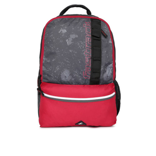 Fastrack Men Black & Red Colourblocked Laptop Backpack