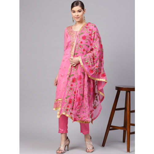 Ishin Pink Silk Blend Embroidered Dress Material