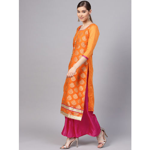 Ishin Orange & Pink Woven Design Unstitched Dress Material