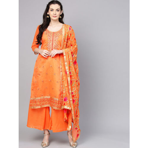 Ishin Orange & Green Embroidered Unstitched Dress Material