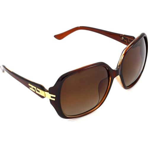 Hrinkar Polarized Rectangular Sunglasses(Brown)