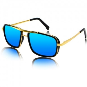fashion sunglasses Rectangular Sunglasses(Golden, Blue)