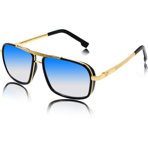 fashion sunglasses Rectangular Sunglasses(Blue, Golden)