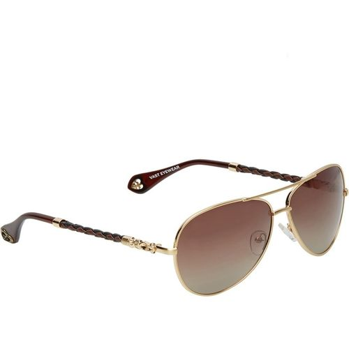 Vast Rectangular, Retro Square Sunglasses(Golden)