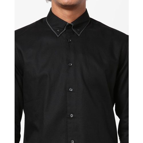 Celio Slim Fit Button-Down Double-Collar Shirt