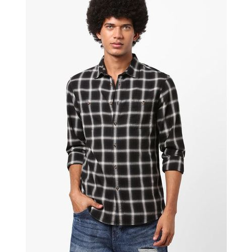 Celio Checked Cotton Shirt with Patch Pockets