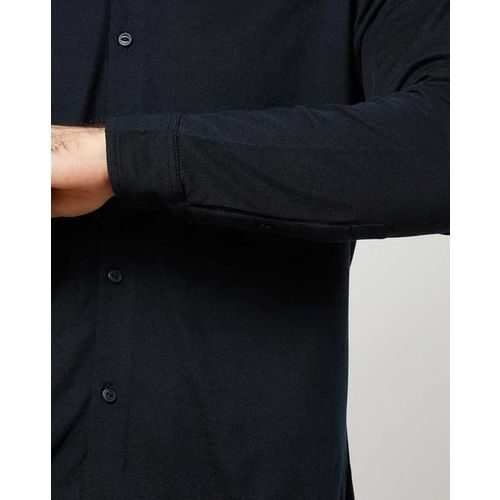 Pepe Jeans Textured Slim Fit Shirt with Band Collar