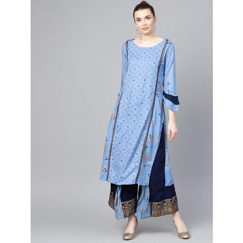 Ishin Women Blue & Golden Printed Kurta with Palazzos