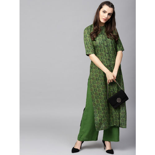 AKS Women Green Printed Kurta with Palazzos
