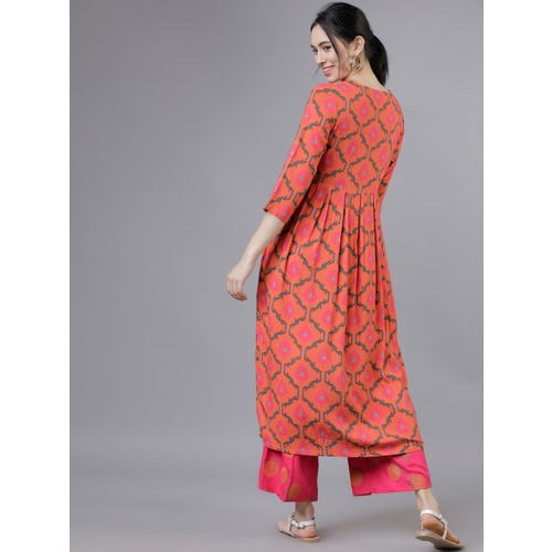 Vishudh Women Coral Orange & Pink Printed Kurta with Palazzos