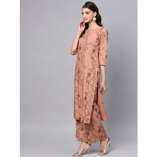 AKS Women Brown Printed Kurta with Palazzos & Dupatta