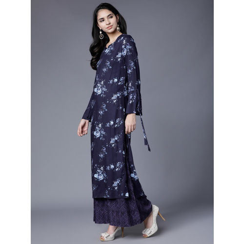 Vishudh Women Navy Blue Printed Kurta with Palazzos