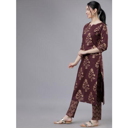 Vishudh Women Maroon & Gold-Toned Printed Kurti with Palazzos