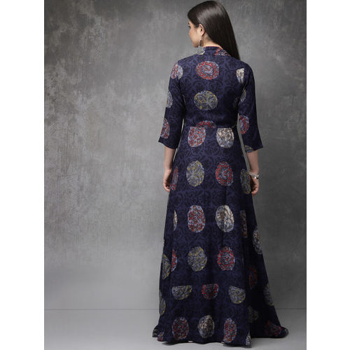 Anouk Women Navy Blue & Red Printed Kurta withJacket & Palazzos