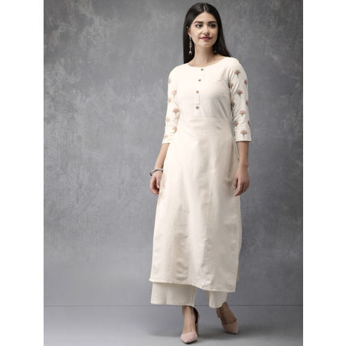 Anouk Women Off-White Solid Kurta with Palazzos