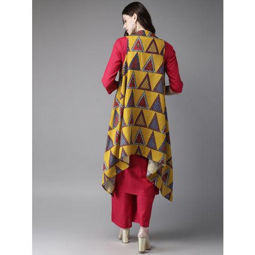 Anouk Women Fuchsia Pink & Mustard Yellow Solid Kurta with Longline Shrug & Palazzos