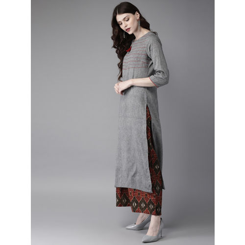 Anouk Women Grey & Black Yoke Design Kurta with Palazzos