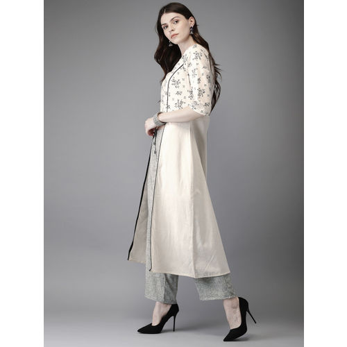 Anouk Women Off-White & Grey Printed Kurta with Palazzos