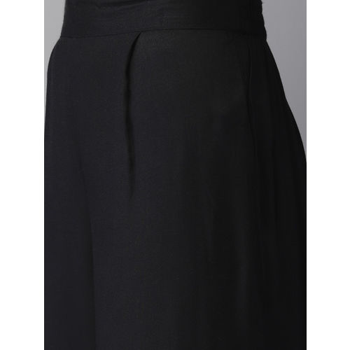 Anouk Women Black & White Printed Kurta with Longline Shrug & Palazzos
