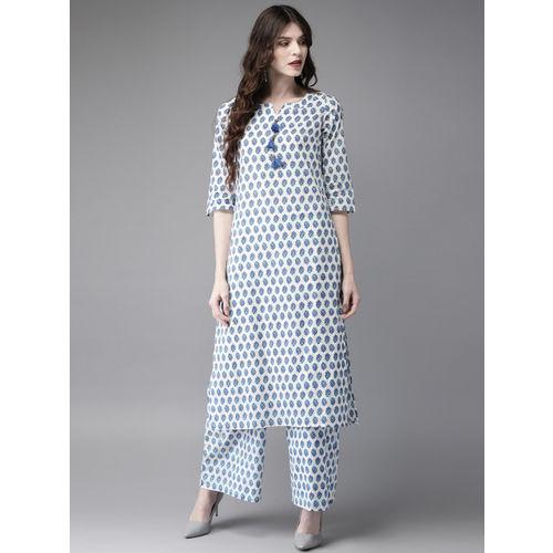 Anouk Women White & Blue Printed Kurta with Palazzos