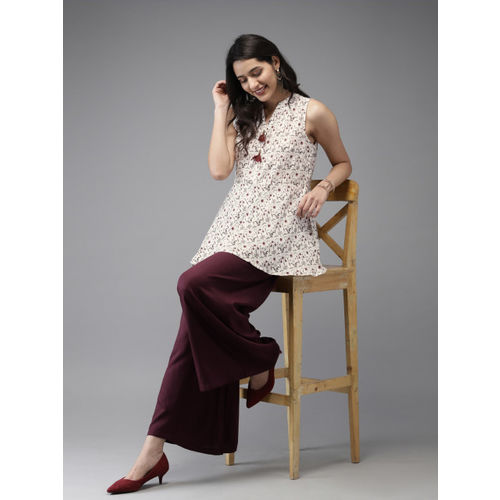 Anouk Women White & Maroon Printed Kurti with Palazzos