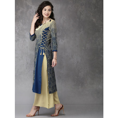 Anouk Women Beige & Blue Printed Kurta with Palazzos
