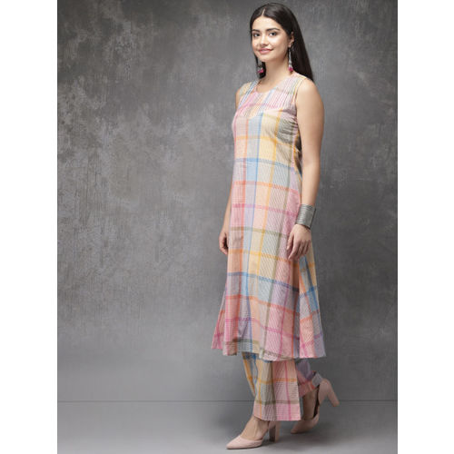 Anouk Women Multicoloured Checked Kurta with Palazzos & Longline Jacket