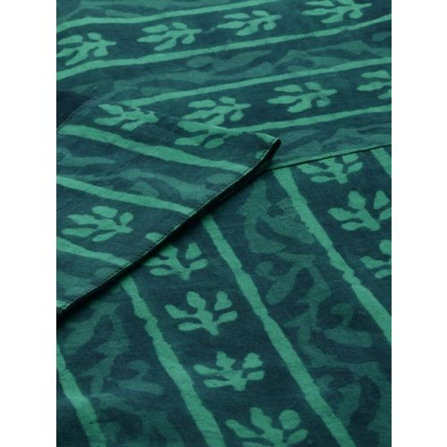 Anouk Women Navy Blue & Green Printed Kurta with Palazzos