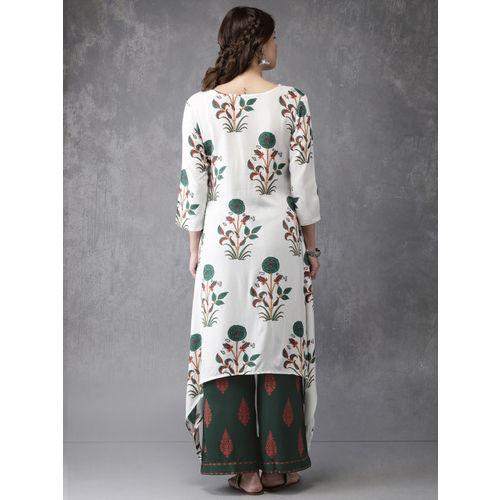 Anouk Women White & Green Printed Kurta with Palazzos
