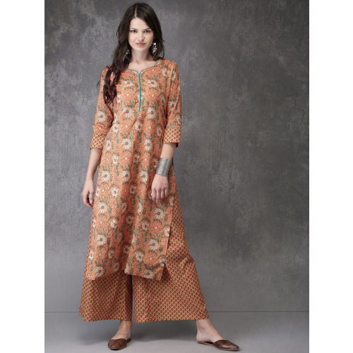 Anouk Women Peach-Coloured Printed Kurta with Palazzos