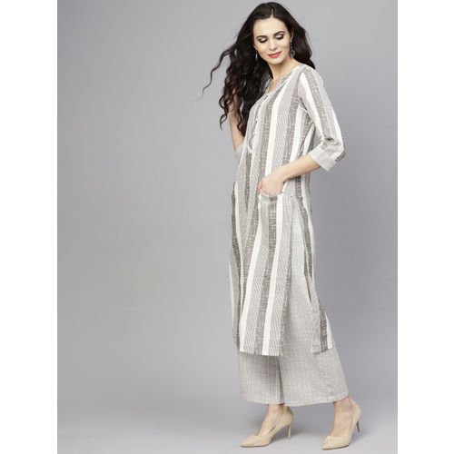 AKS Women White & Grey Striped Kurta with Palazzos
