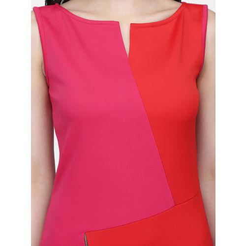 Eavan Women Red Colourblocked Sheath Dress