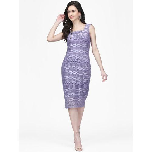 Eavan Women Lavender Lace Sheath Dress