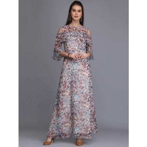 Eavan Women Off-White Printed Cold Shoulder Sleeves Maxi Dress